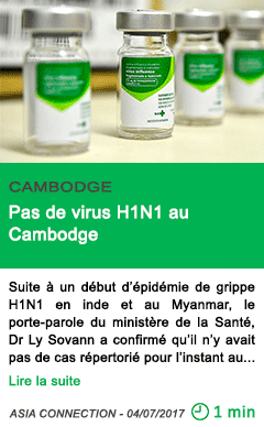 Science pas de virus h1n1 au cambodge