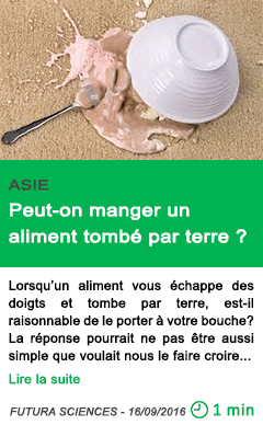 Science peut on manger un aliment tombe par terre