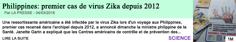 Science philippines premier cas de virus zika depuis 2012
