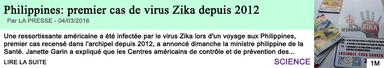 Science philippines premier cas de virus zika depuis 2012