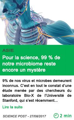 Science pour la science 99 de notre microbiome reste encore un mystere