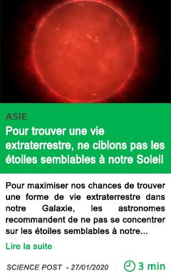 Science pour trouver une vie extraterrestre ne ciblons pas les etoiles semblables a notre soleil
