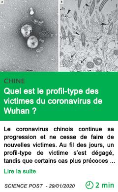 Science quel est le profil type des victimes du coronavirus de wuhan