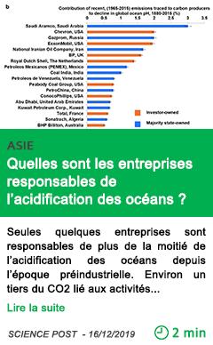 Science quelles sont les entreprises responsables de l acidification des oceans