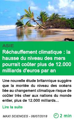 Science rechauffement climatique la hausse du niveau des mers pourrait couter plus de 12 000 milliards d euros par an