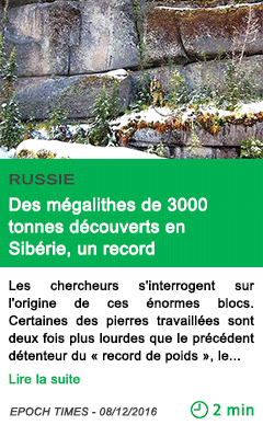 Science russie des megalithes de 3000 tonnes decouverts en siberie un record