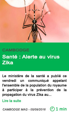 Science sante alerte au virus zika
