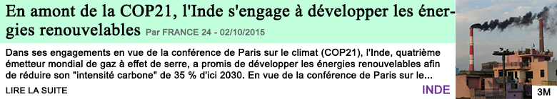 Science sante en amont de la cop21 l inde s engage a developper les energies renouvelables