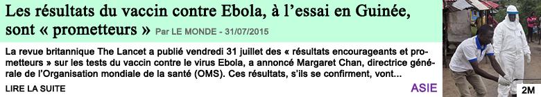 Science sante les resultats du vaccin contre ebola a l essai en guinee sont prometteurs