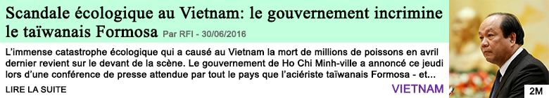 Science scandale ecologique au vietnam le gouvernement incrimine le taiwanais formosa