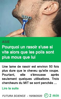 Science science decalee pourquoi un rasoir s use si vite alors que les poils sont plus mous que lui