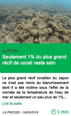 Science seulement 1 du plus grand recif de corail reste sain