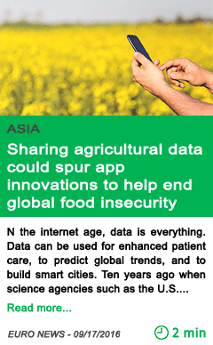 Science sharing agricultural data could spur app innovations to help end global food insecurity