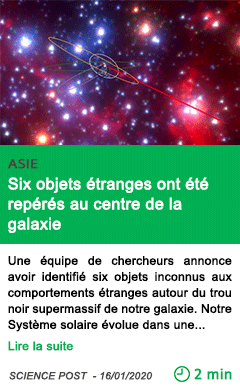 Science six objets etranges ont ete reperes au centre de la galaxie 1