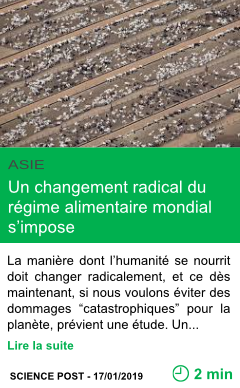 Science un changement radical du regime alimentaire mondial s impose page001