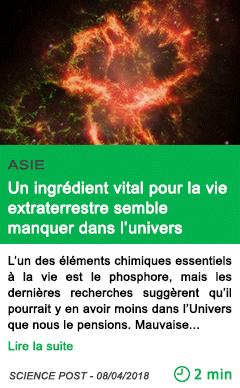 Science un ingredient vital pour la vie extraterrestre semble manquer dans l univers