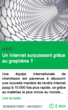 Science un internet surpuissant grace au graphene