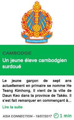 Science un jeune eleve cambodgien surdoue