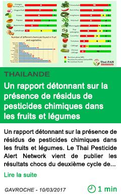 Science un rapport detonnant sur la presence de residus de pesticides chimiques dans les fruits et legumes