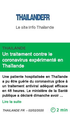 Science un traitement contre le coronavirus experimente en thailande