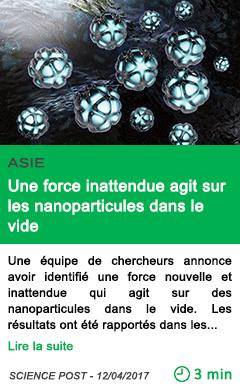 Science une force inattendue agit sur les nanoparticules dans le vide