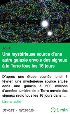 Science une myste rieuse source d une autre galaxie envoie des signaux a la terre tous les 16 jours