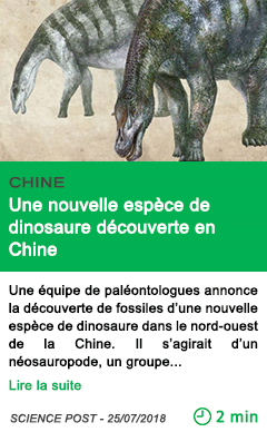 Science une nouvelle espece de dinosaure decouverte en chine