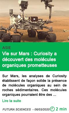 Science vie sur mars curiosity a decouvert des molecules organiques prometteuses