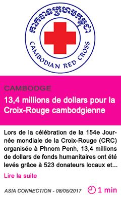 Societe 13 4 millions de dollars pour la croix rouge cambodgienne