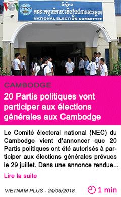 Societe 20 partis politiques vont participer aux elections generales aux cambodge