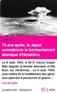 Societe 73 ans apres le japon commemore le bombardement atomique d hiroshima
