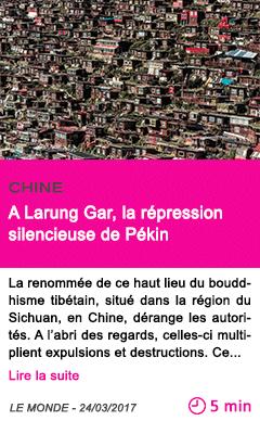 Societe a larung gar la repression silencieuse de pekin