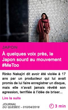 Societe a quelques voix pres le japon sourd au mouvement metoo