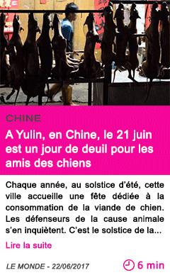Societe a yulin en chine le 21 juin est un jour de deuil pour les amis des chiens