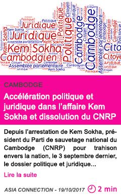 Societe acceleration politique et juridique dans l affaire kem sokha et dissolution du cnrp