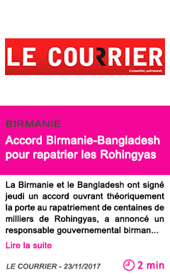 Societe accord birmanie bangladesh pour rapatrier les rohingyas