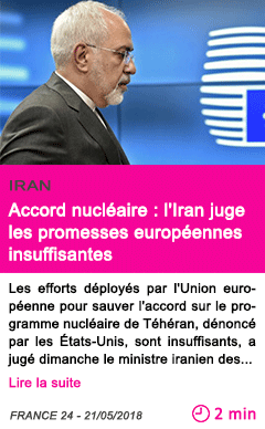 Societe accord nucleaire l iran juge les promesses europeennes insuffisantes