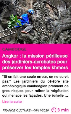 Societe angkor la mission pe rilleuse des jardiniers acrobates pour pre server les temples khmers