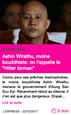 Societe ashin wirathu moine bouddhiste on l appelle le hitler birman