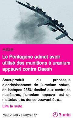 Societe asie le pentagone admet avoir utilise des munitions a uranium appauvri contre daesh
