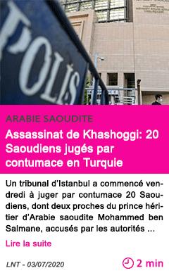 Societe assassinat de khashoggi 20 saoudiens juges par contumace en turquie