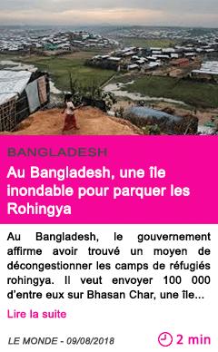 Societe au bangladesh une ile inondable pour parquer les rohingya