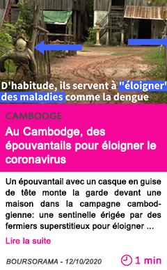Societe au cambodge des e pouvantails pour e loigner le coronavirus
