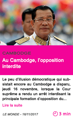 Societe au cambodge l opposition interdite