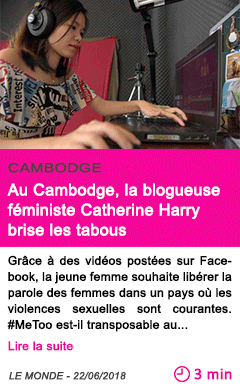 Societe au cambodge la blogueuse feministe catherine harry brise les tabous