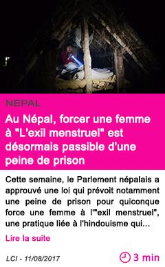 Societe au nepal forcer une femme a l exil menstruel est desormais passible d une peine de prison 1