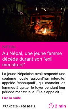 Societe au nepal une jeune femme decede durant son exil menstruel page001