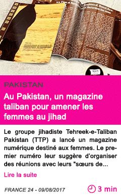 Societe au pakistan un magazine taliban pour amener les femmes au jihad