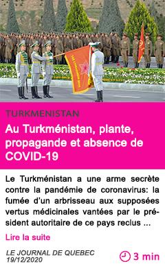 Societe au turkme nistan plante propagande et absence de covid 19