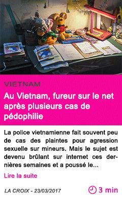 Societe au vietnam fureur sur le net apres plusieurs cas de pedophilie